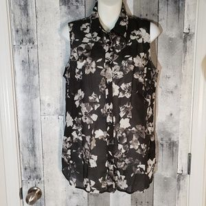 Coldwater Creek semi sheer sleeveless floral top